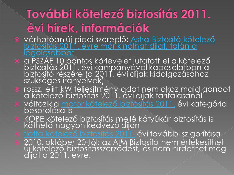 További kötelező biztosítás 2011. évi hírek, információk