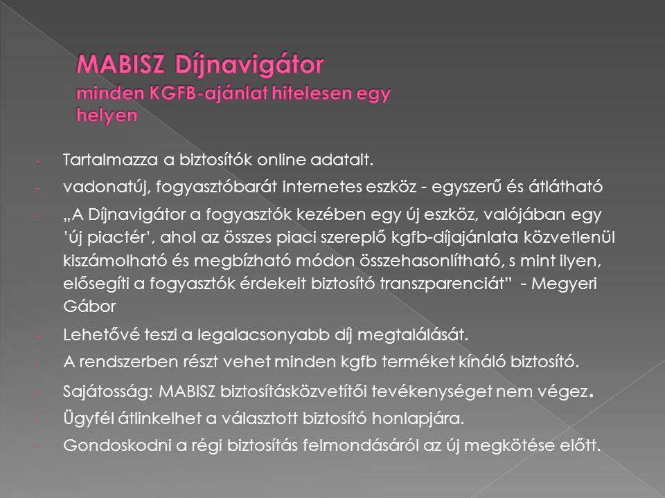MABISZ Díjnavigátor minden KGFB-ajánlat hitelesen egy helyen