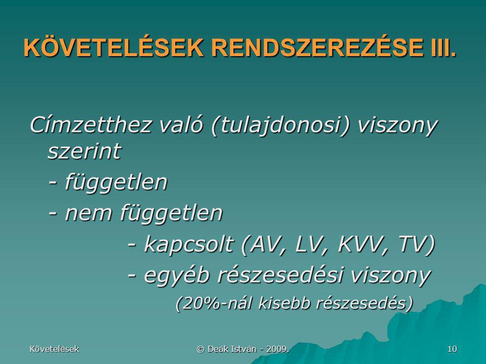 KÖVETELÉSEK RENDSZEREZÉSE III.