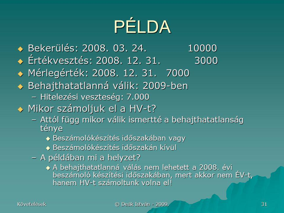 PÉLDA Bekerülés: 2008. 03. 24. 10000 Értékvesztés: 2008. 12. 31. 3000