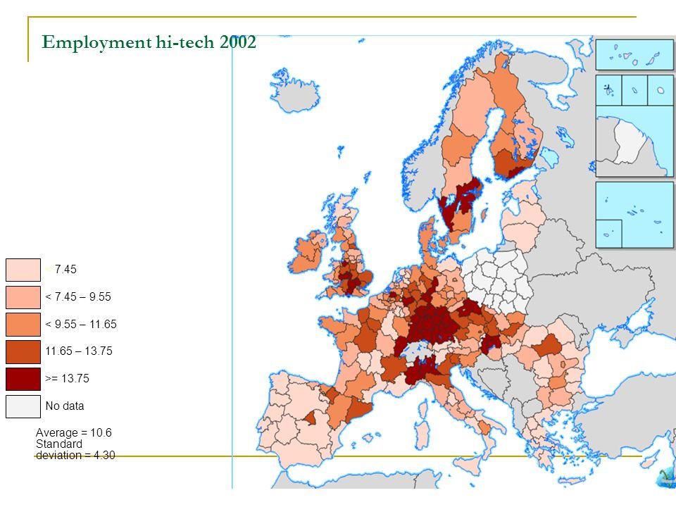 Employment hi-tech 2002 < 7.45 < 7.45 – 9.55 < 9.55 – 11.65