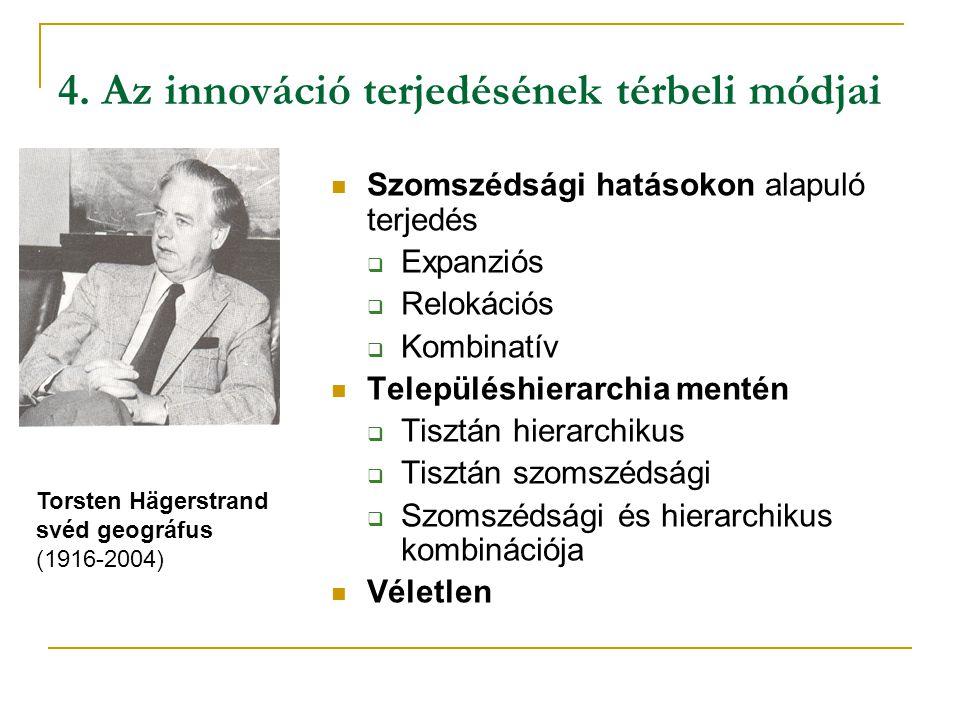 4. Az innováció terjedésének térbeli módjai