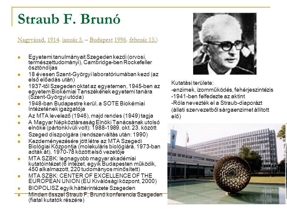 Straub F. Brunó Nagyvárad, 1914. január 5. – Budapest 1996. február 15