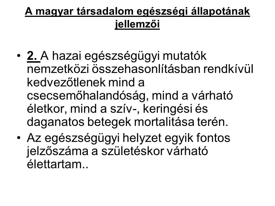 A magyar társadalom egészségi állapotának jellemzői