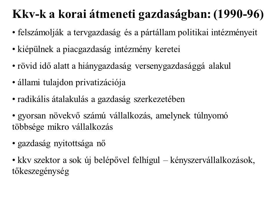 Kkv-k a korai átmeneti gazdaságban: (1990-96)