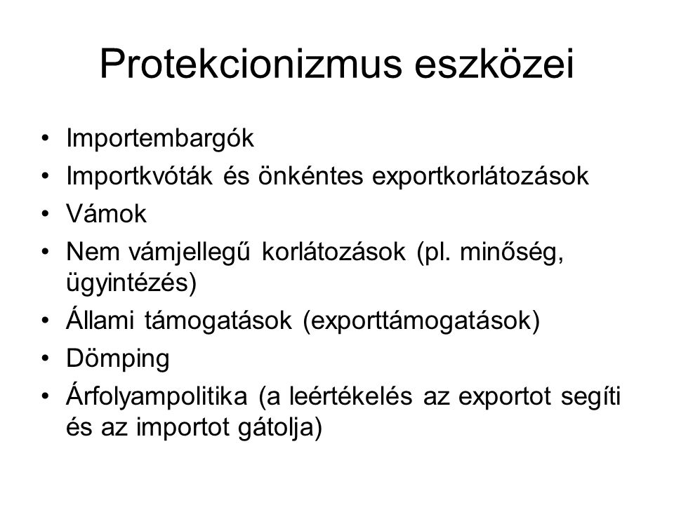 Protekcionizmus eszközei