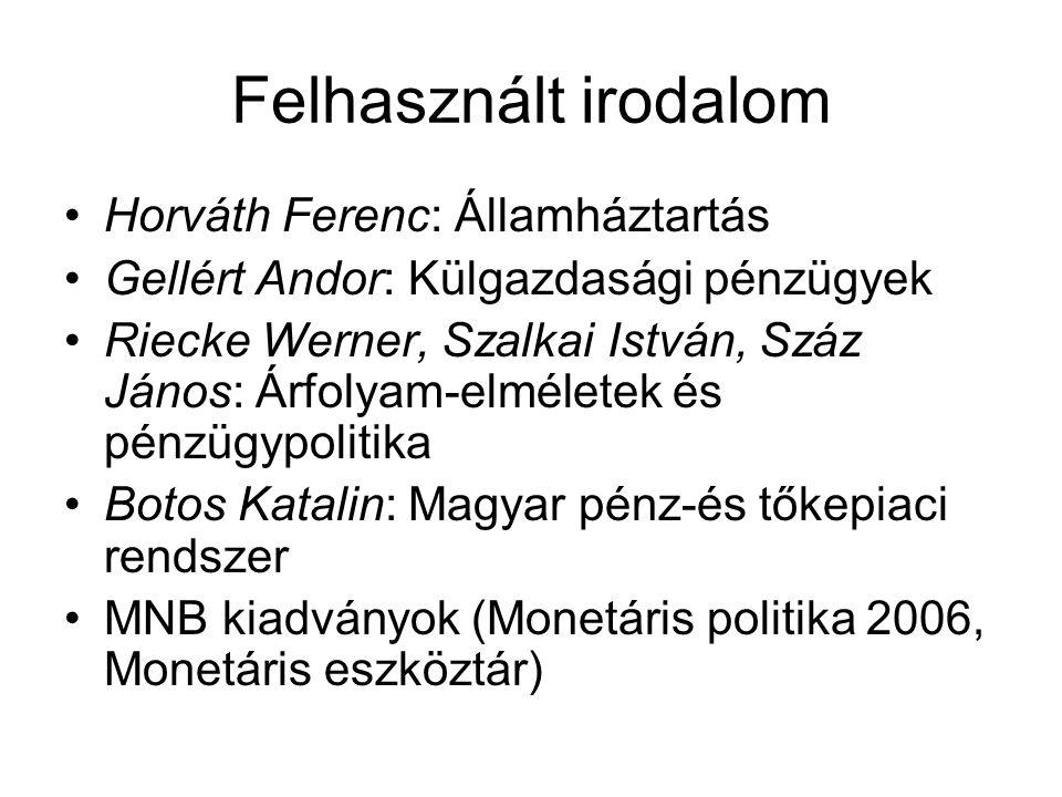 Felhasznált irodalom Horváth Ferenc: Államháztartás