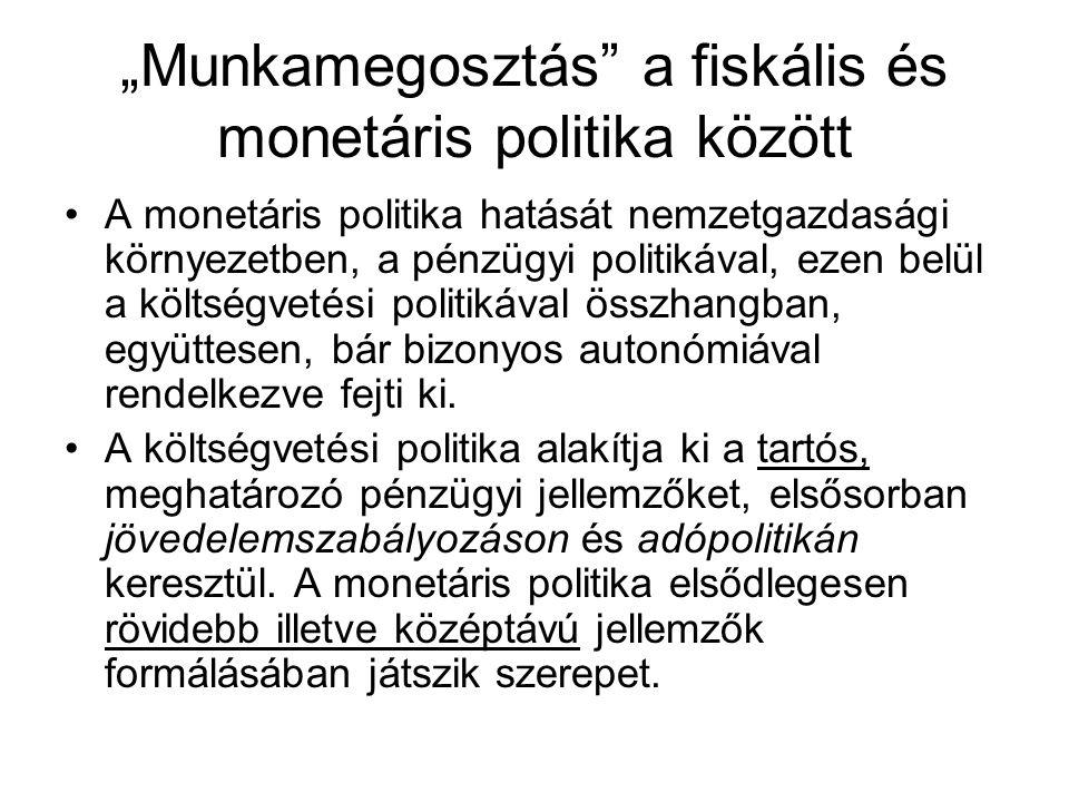"""""""Munkamegosztás a fiskális és monetáris politika között"""