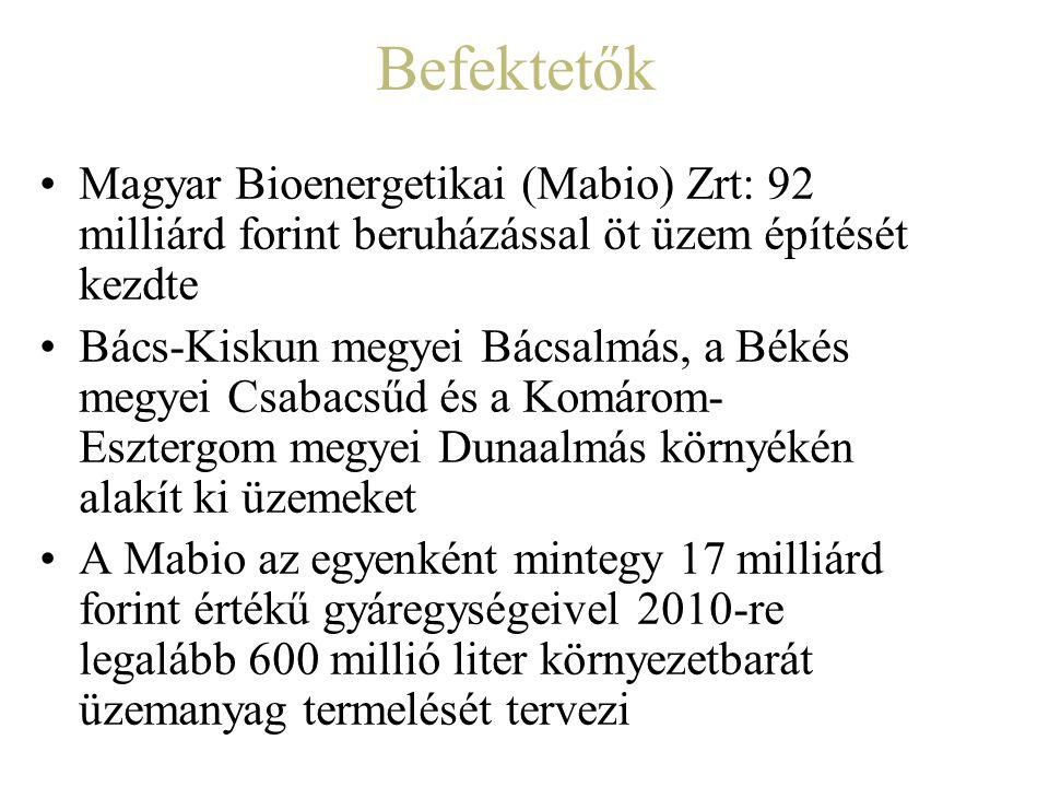 Befektetők Magyar Bioenergetikai (Mabio) Zrt: 92 milliárd forint beruházással öt üzem építését kezdte.