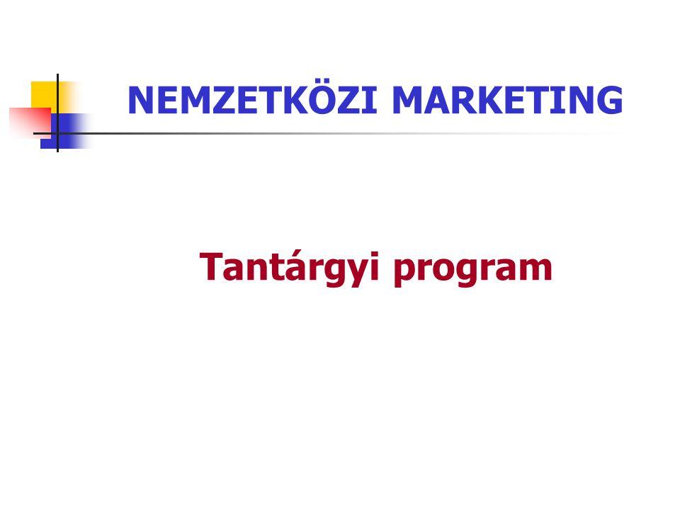 NEMZETKÖZI MARKETING Tantárgyi program