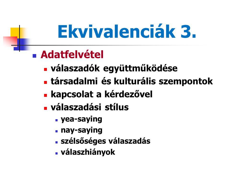 Ekvivalenciák 3. Adatfelvétel válaszadók együttműködése