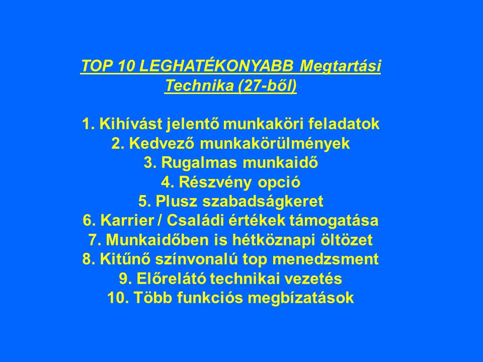 TOP 10 LEGHATÉKONYABB Megtartási Technika (27-ből) 1