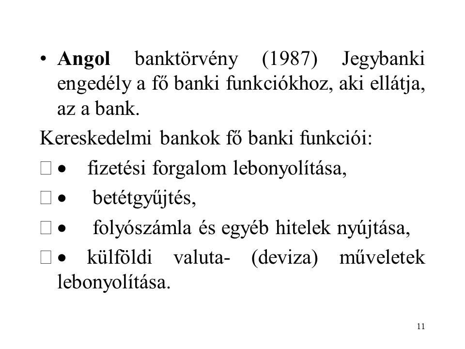 Angol banktörvény (1987) Jegybanki engedély a fő banki funkciókhoz, aki ellátja, az a bank.