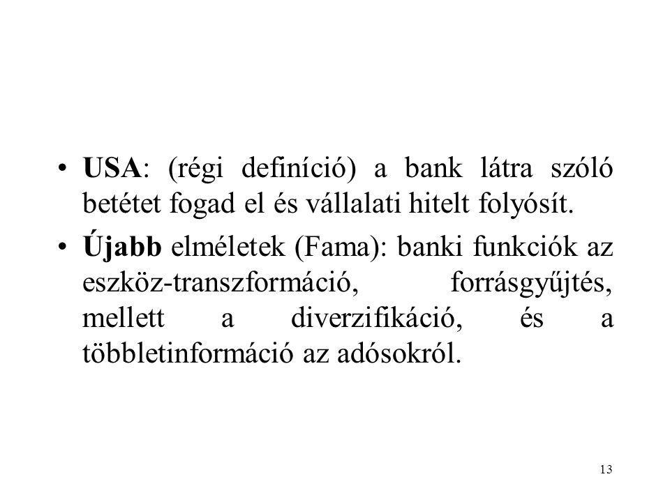 USA: (régi definíció) a bank látra szóló betétet fogad el és vállalati hitelt folyósít.