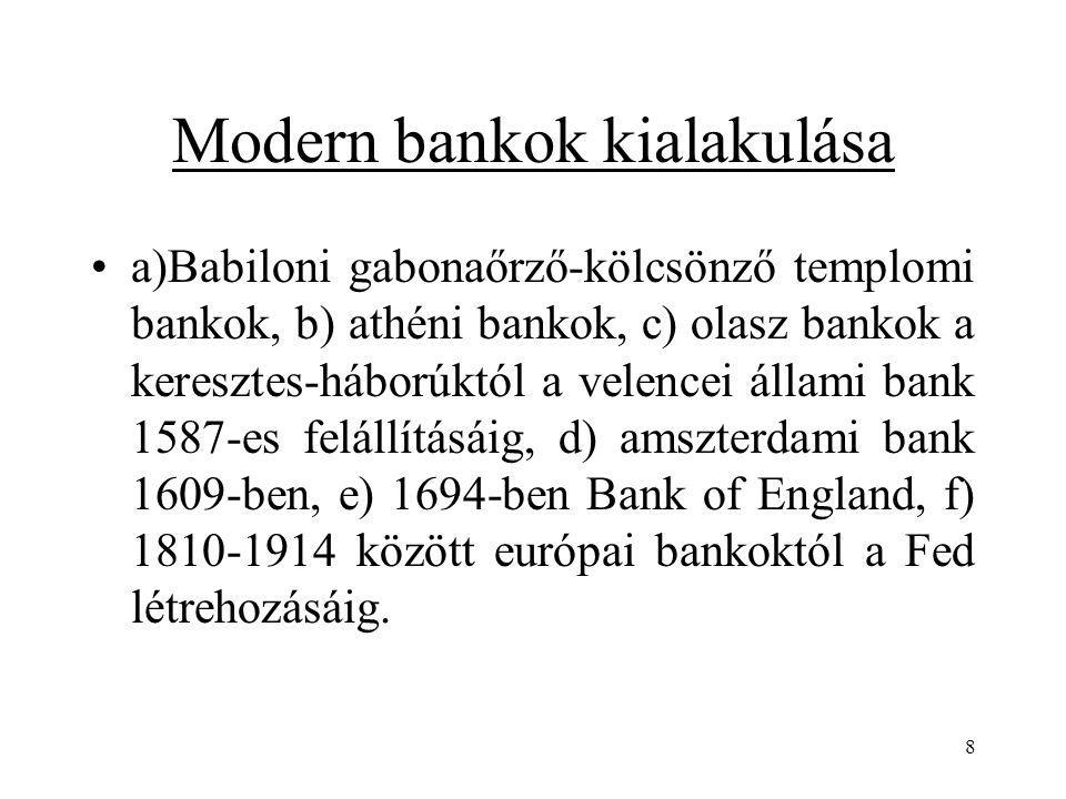 Modern bankok kialakulása
