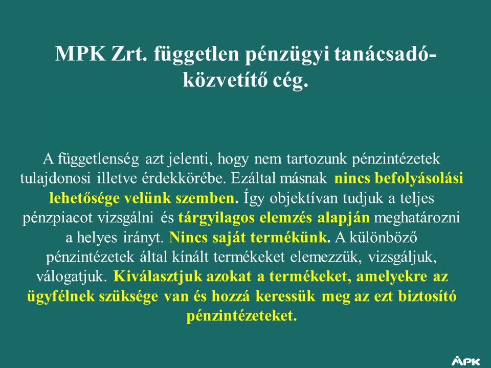 MPK Zrt. független pénzügyi tanácsadó-közvetítő cég.