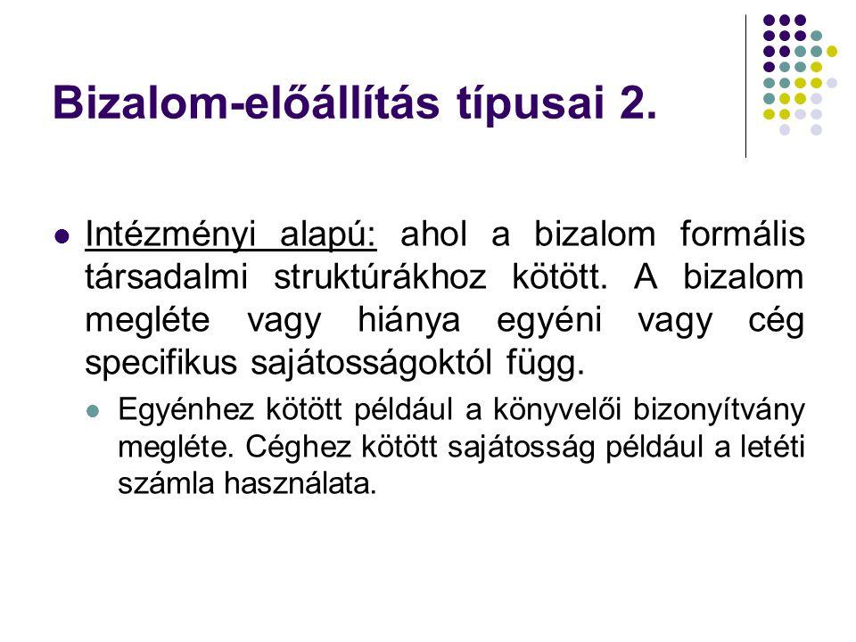 Bizalom-előállítás típusai 2.