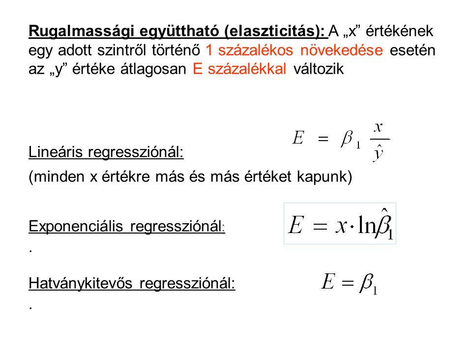 """Rugalmassági együttható (elaszticitás): A """"x értékének egy adott szintről történő 1 százalékos növekedése esetén az """"y értéke átlagosan E százalékkal változik"""