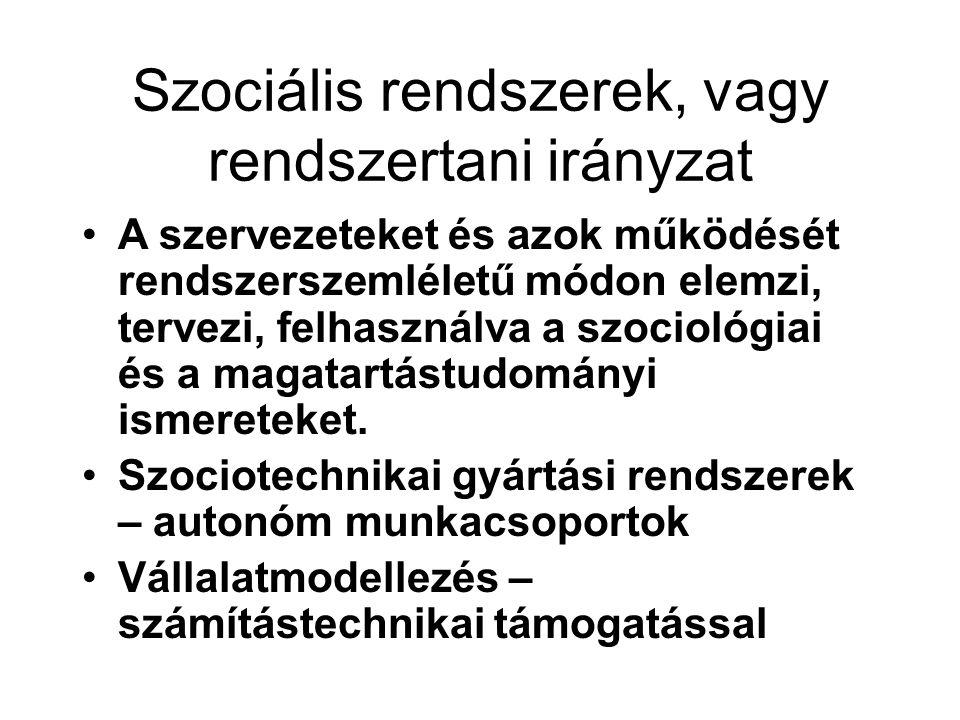Szociális rendszerek, vagy rendszertani irányzat