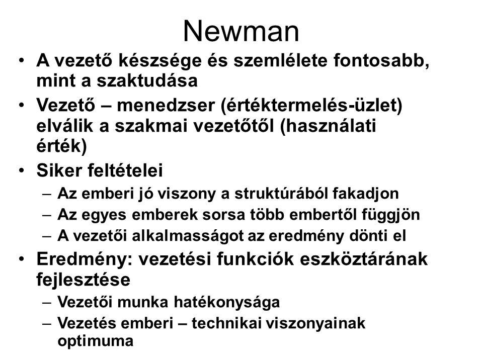 Newman A vezető készsége és szemlélete fontosabb, mint a szaktudása