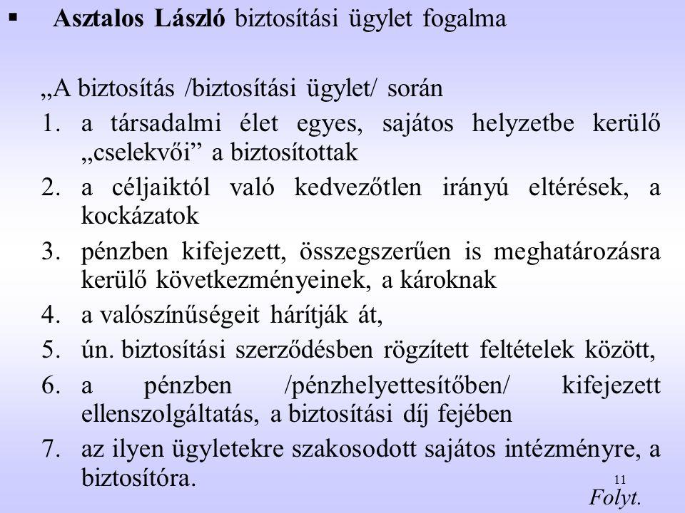 Asztalos László biztosítási ügylet fogalma
