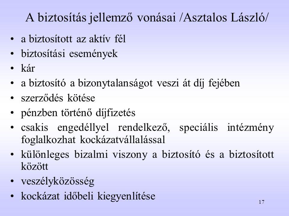 A biztosítás jellemző vonásai /Asztalos László/