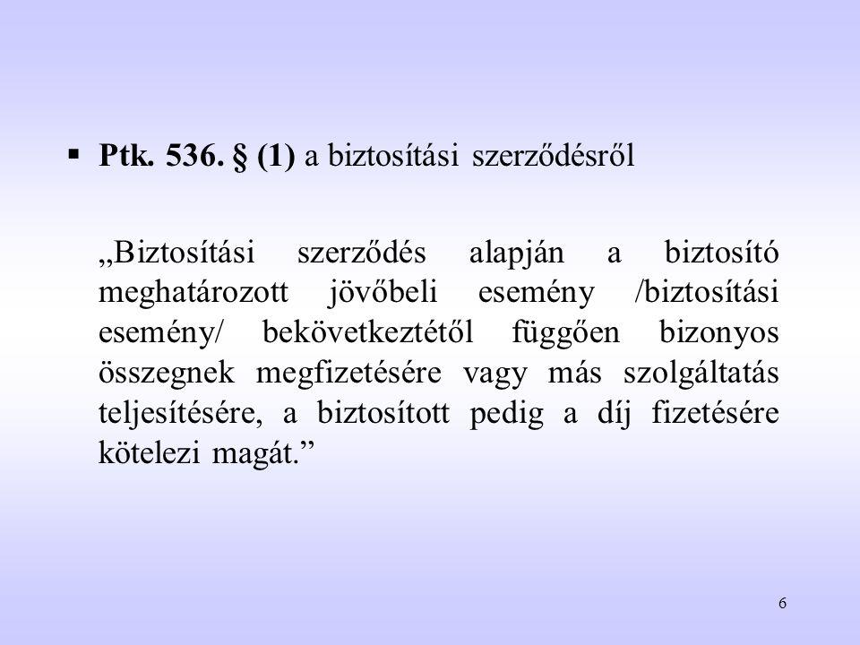 Ptk. 536. § (1) a biztosítási szerződésről