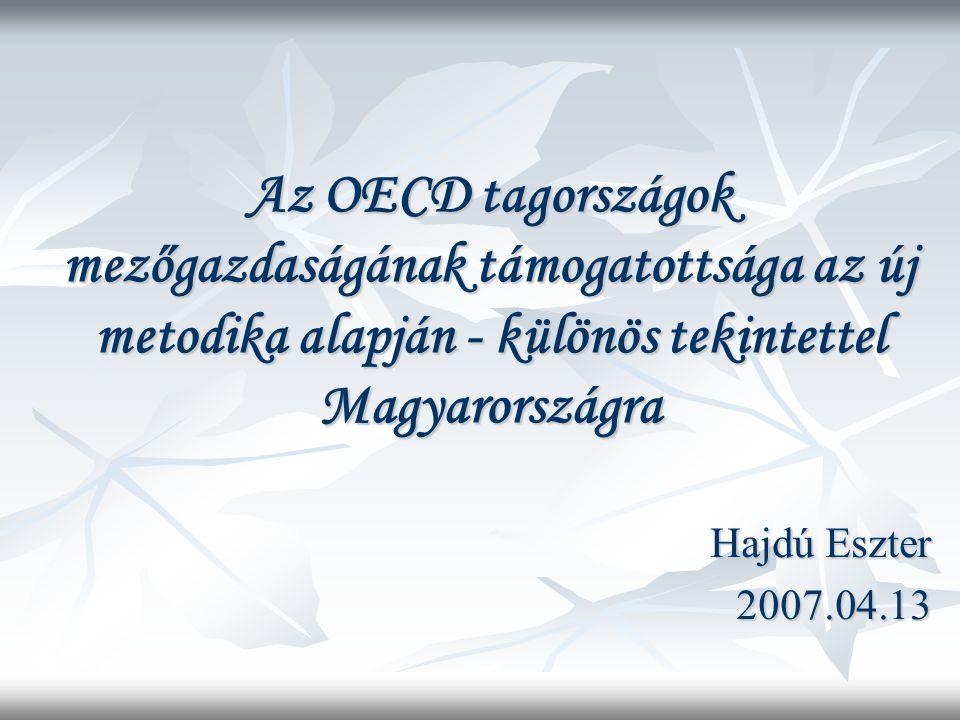 Az OECD tagországok mezőgazdaságának támogatottsága az új metodika alapján - különös tekintettel Magyarországra