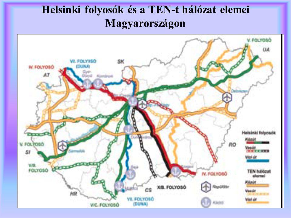 Helsinki folyosók és a TEN-t hálózat elemei Magyarországon