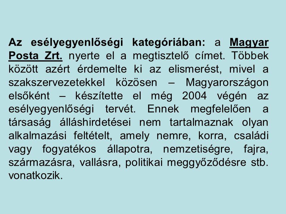 Az esélyegyenlőségi kategóriában: a Magyar Posta Zrt