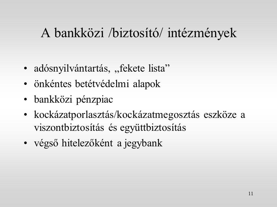 A bankközi /biztosító/ intézmények