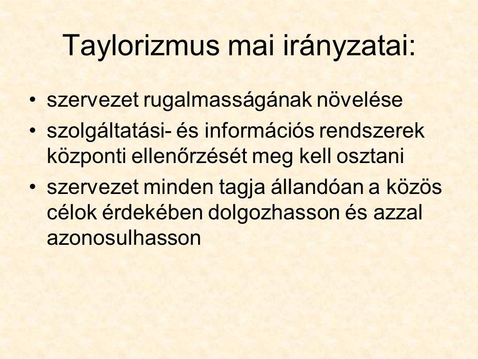 Taylorizmus mai irányzatai: