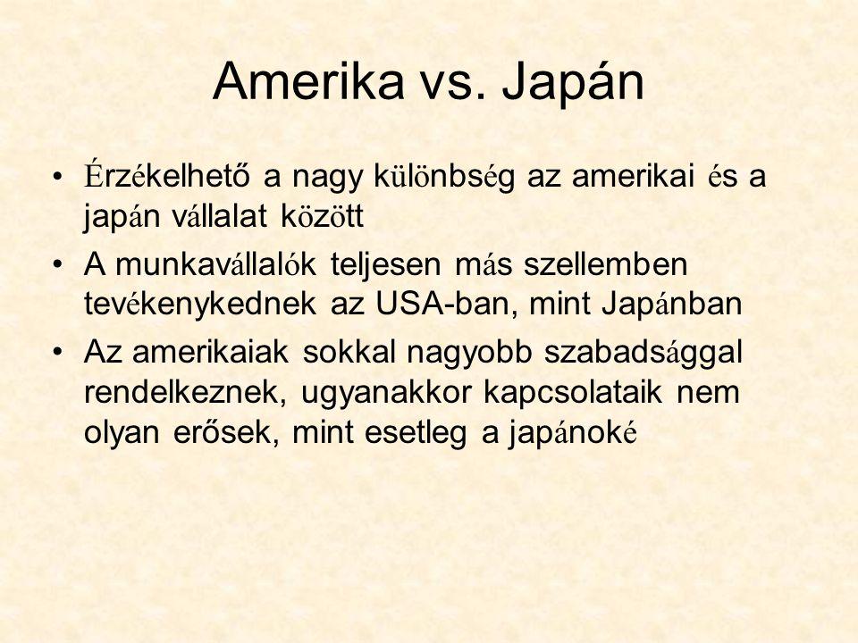 Amerika vs. Japán Érzékelhető a nagy különbség az amerikai és a japán vállalat között.