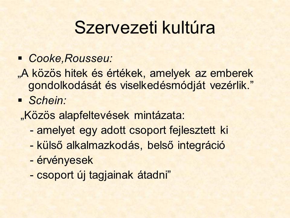 Szervezeti kultúra Cooke,Rousseu: