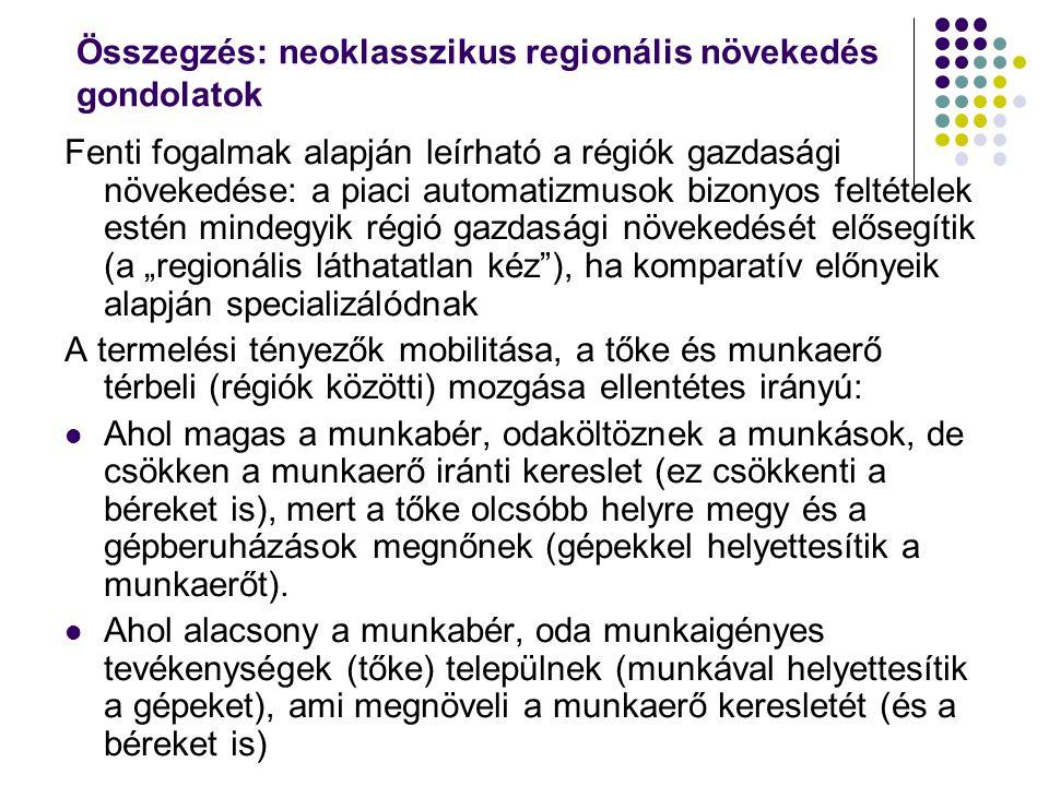 Összegzés: neoklasszikus regionális növekedés gondolatok