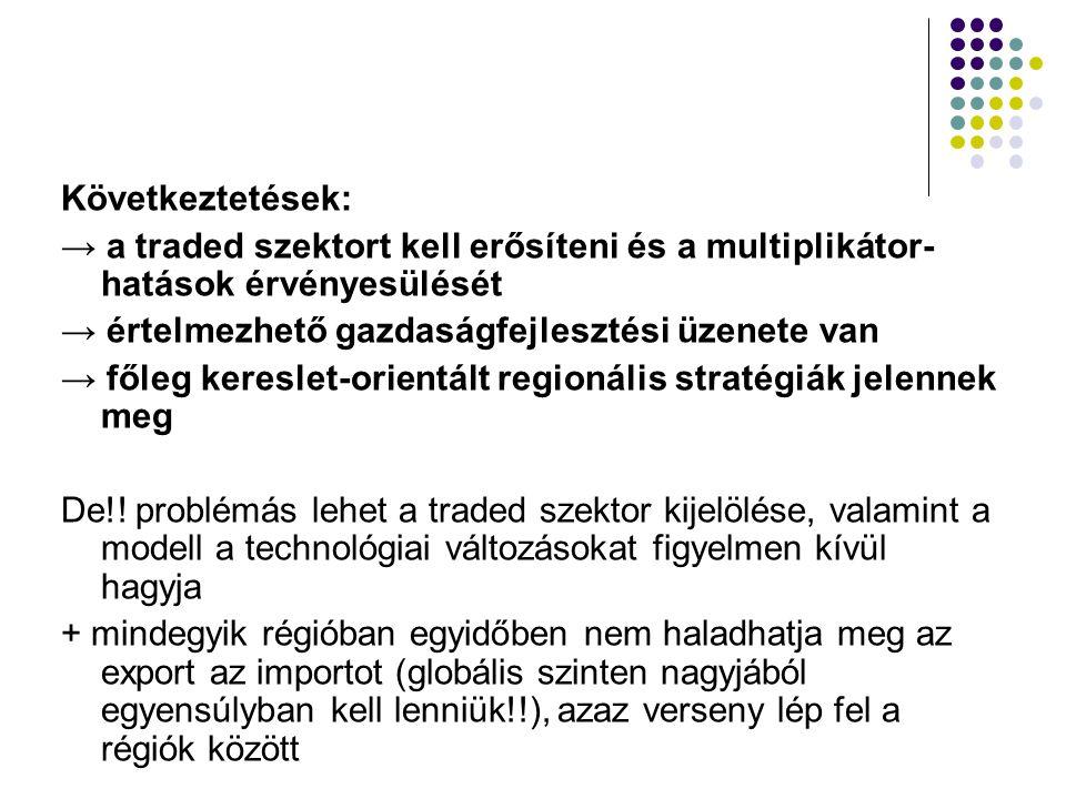 Következtetések: → a traded szektort kell erősíteni és a multiplikátor-hatások érvényesülését. → értelmezhető gazdaságfejlesztési üzenete van.