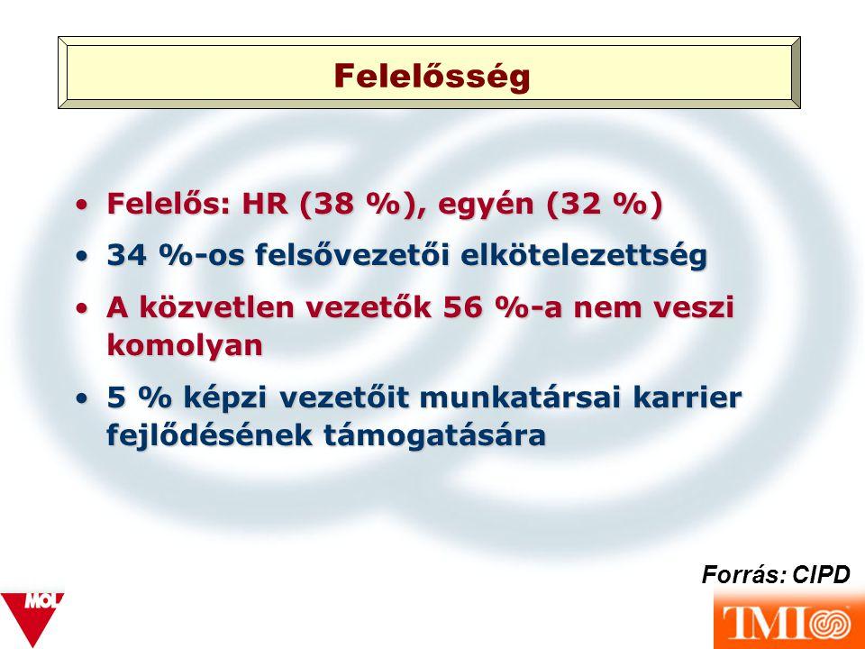 Felelősség Felelős: HR (38 %), egyén (32 %)