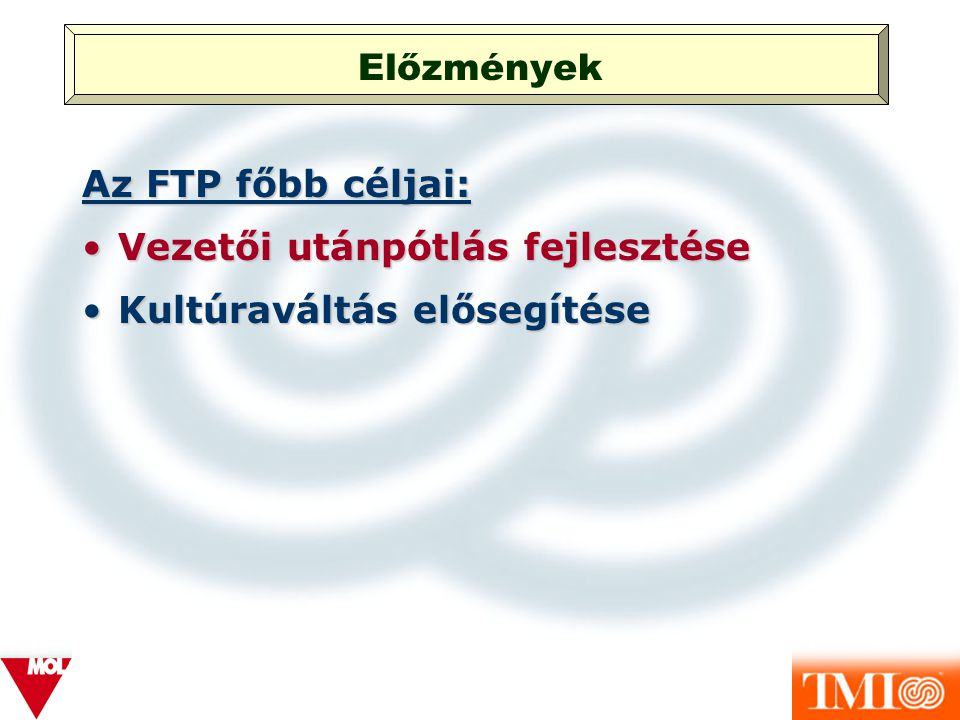 Előzmények Az FTP főbb céljai: Vezetői utánpótlás fejlesztése Kultúraváltás elősegítése