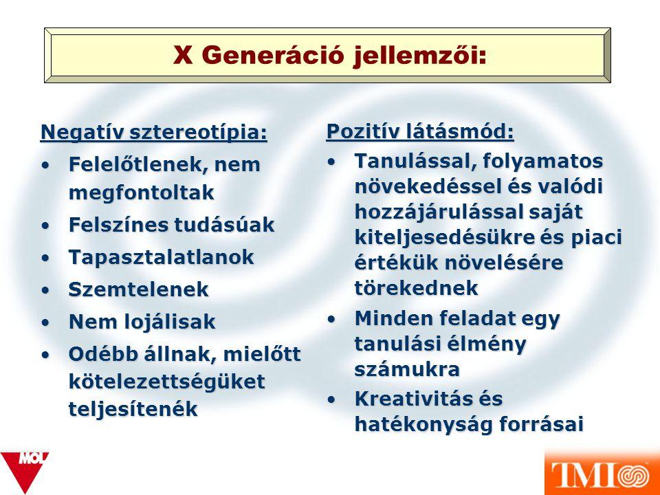 X Generáció jellemzői: