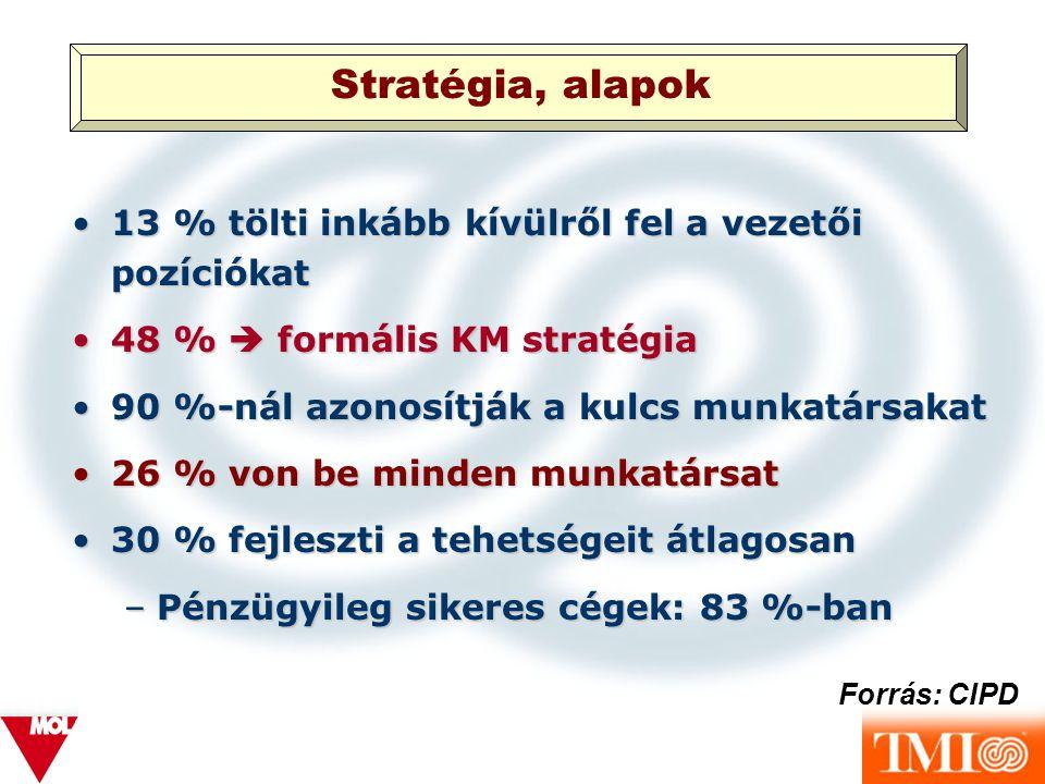 Stratégia, alapok 13 % tölti inkább kívülről fel a vezetői pozíciókat