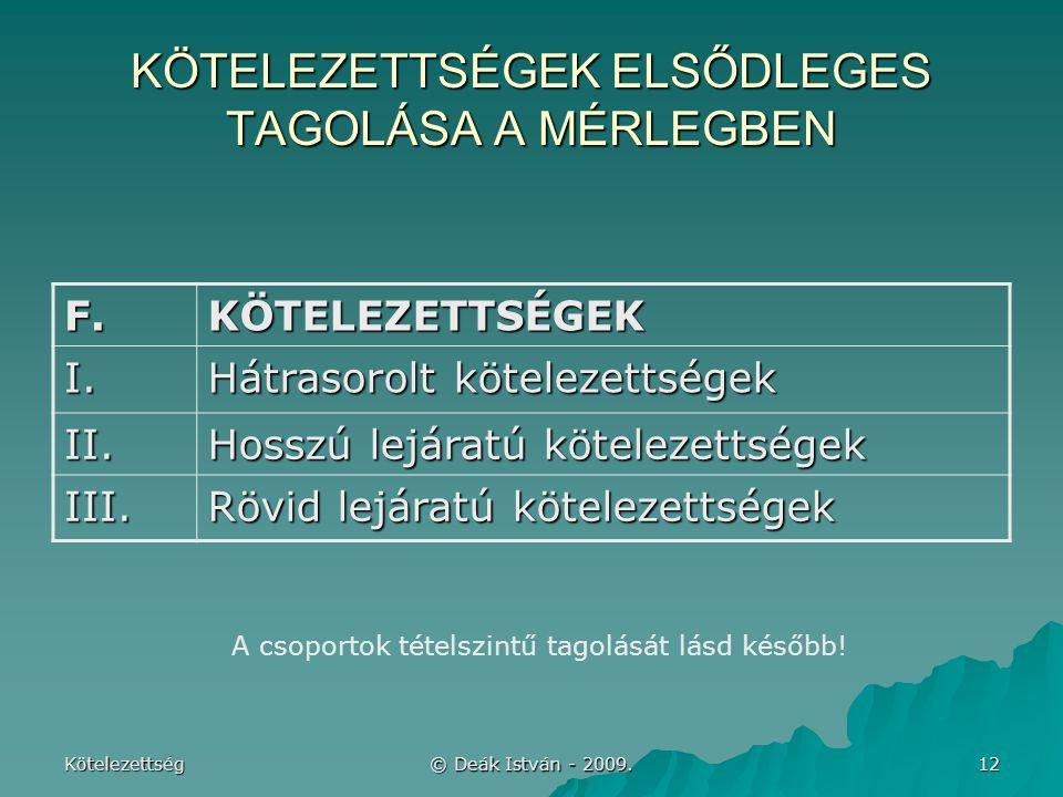 KÖTELEZETTSÉGEK ELSŐDLEGES TAGOLÁSA A MÉRLEGBEN