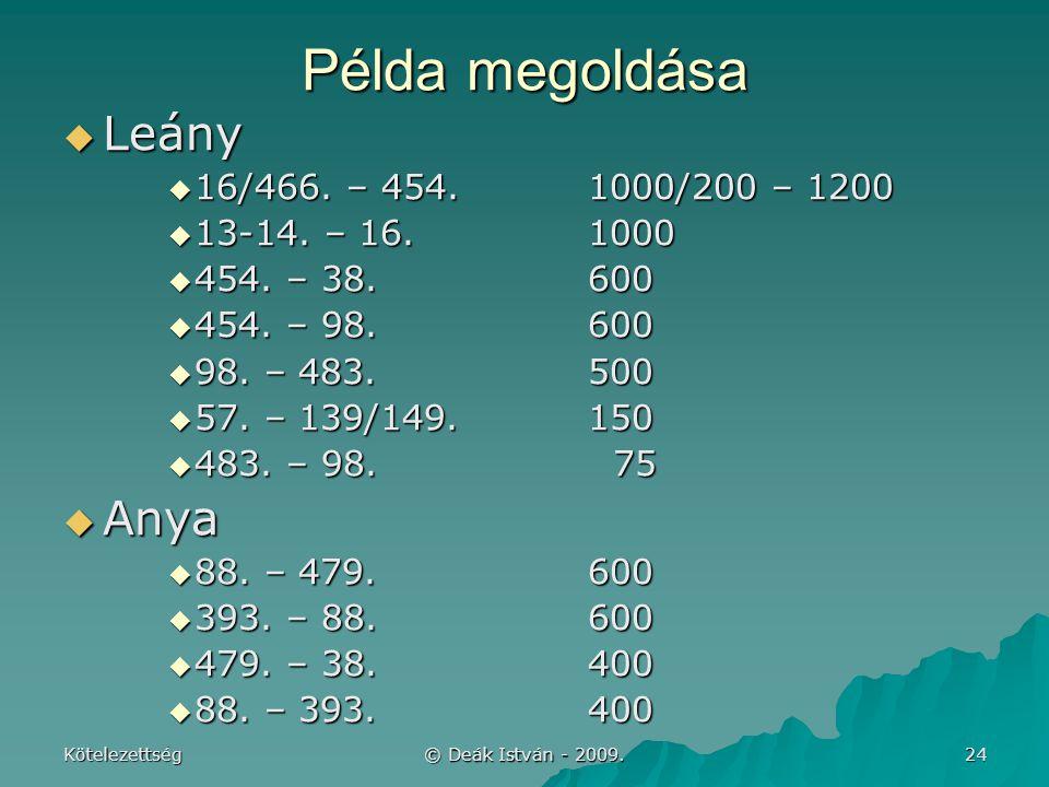 Példa megoldása Leány Anya 16/466. – 454. 1000/200 – 1200