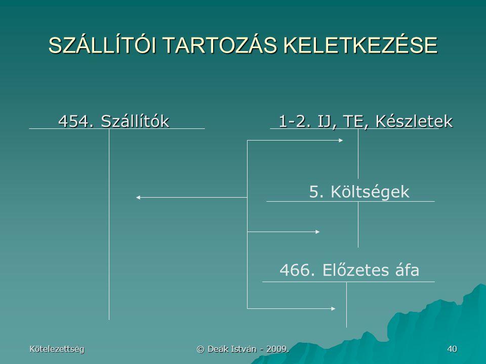 SZÁLLÍTÓI TARTOZÁS KELETKEZÉSE