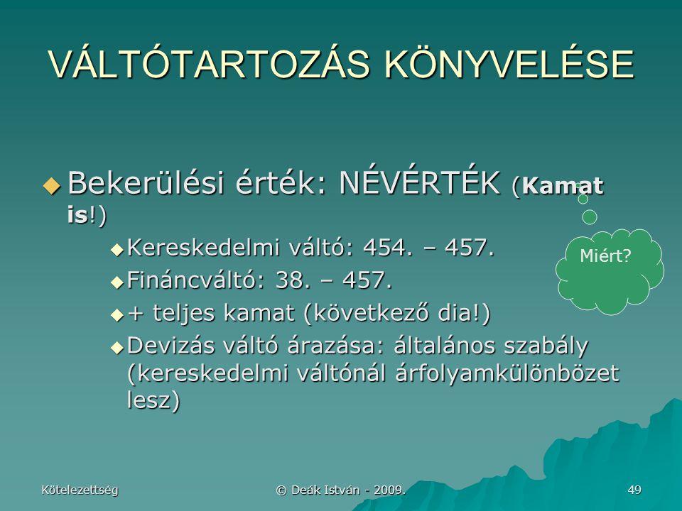 VÁLTÓTARTOZÁS KÖNYVELÉSE