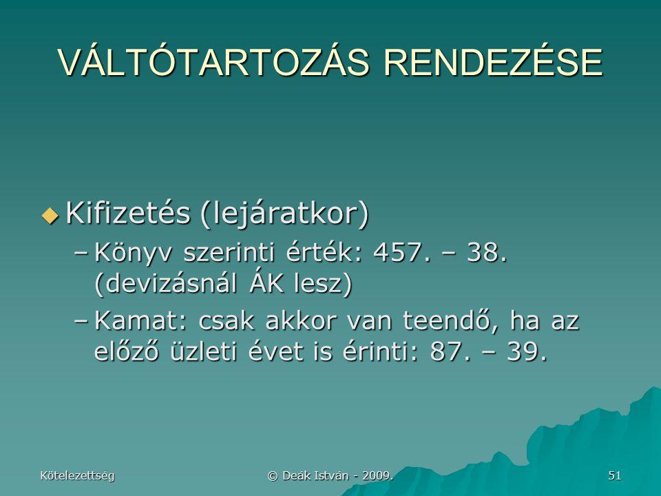 VÁLTÓTARTOZÁS RENDEZÉSE