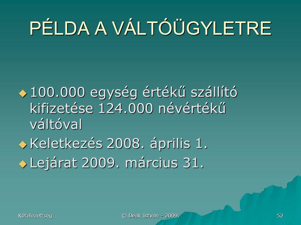 PÉLDA A VÁLTÓÜGYLETRE 100.000 egység értékű szállító kifizetése 124.000 névértékű váltóval. Keletkezés 2008. április 1.