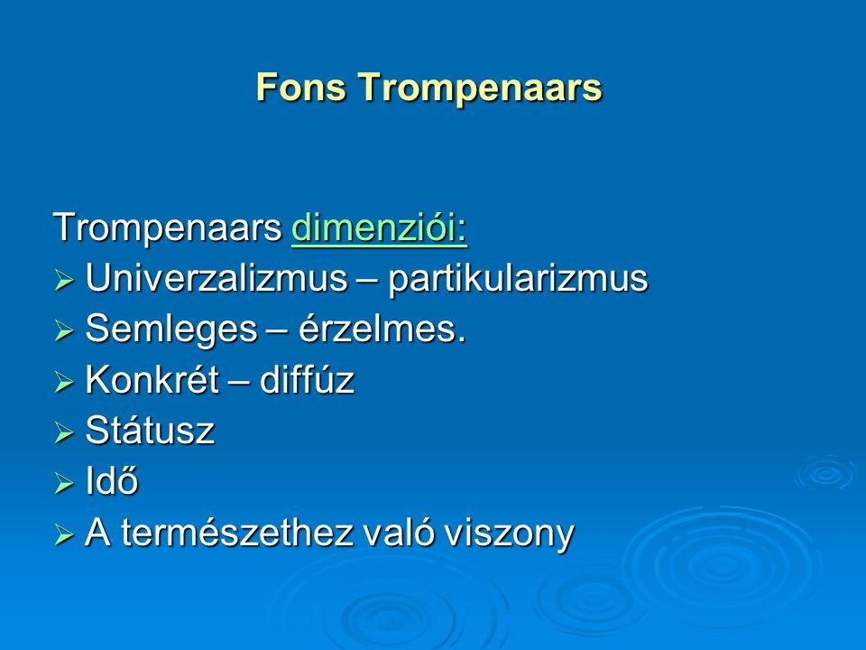 Fons Trompenaars Trompenaars dimenziói: Univerzalizmus – partikularizmus. Semleges – érzelmes. Konkrét – diffúz.