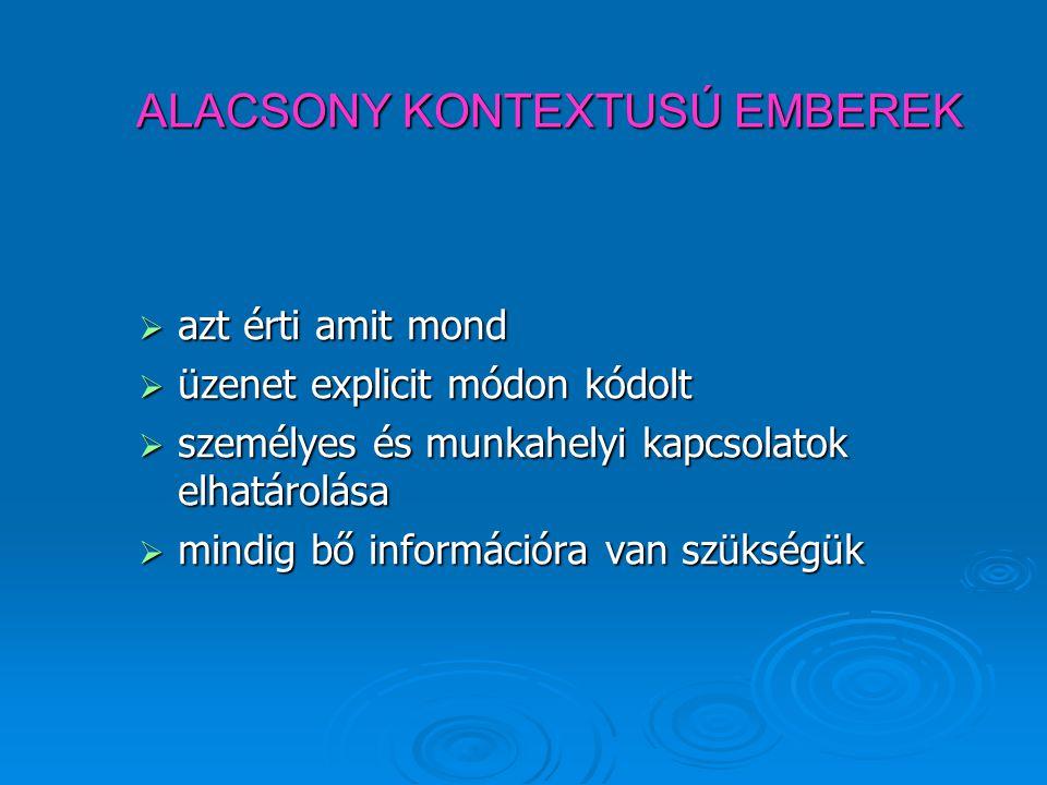 ALACSONY KONTEXTUSÚ EMBEREK