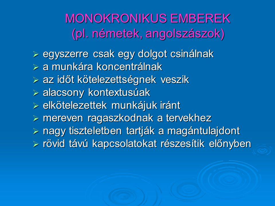 MONOKRONIKUS EMBEREK (pl. németek, angolszászok)