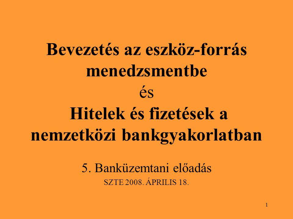 5. Banküzemtani előadás SZTE 2008. ÁPRILIS 18.
